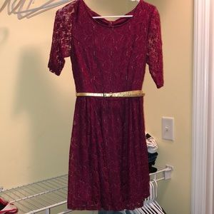 Red lace dress with gold belt